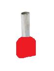Twin Insulated Wire Ferrules, Series W, 16x2 AWG, Red, 15.5mm