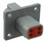 Deutsch DT04-4P-L012 Receptacle 4 Pin w/ Mounting Flange 1 Each